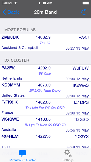 DX Cluster cluster item list