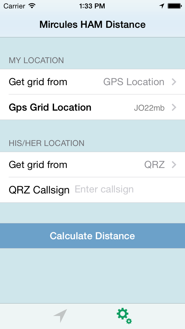 HAM Distance iPhone main entry screen