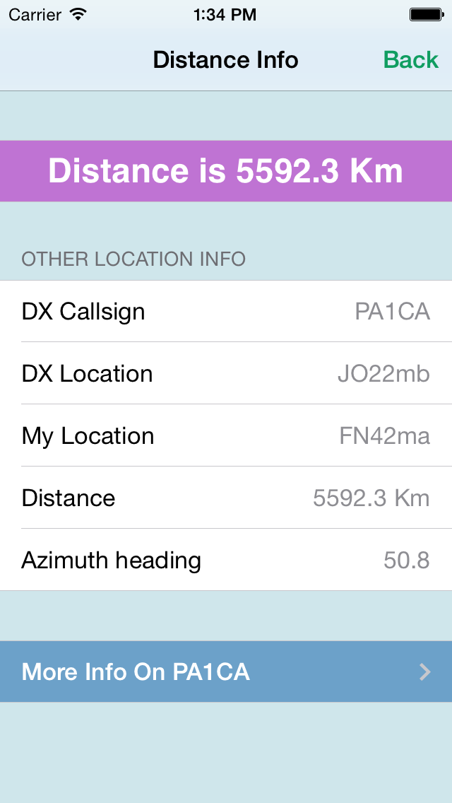HAM Distance iPhone distance info